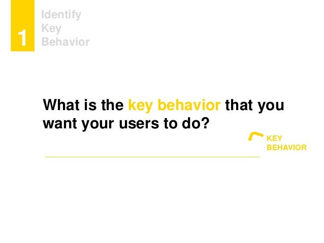 Identify Key Behavior1 What is the key behavior that you want your users to do? KEY BEHAVIOR