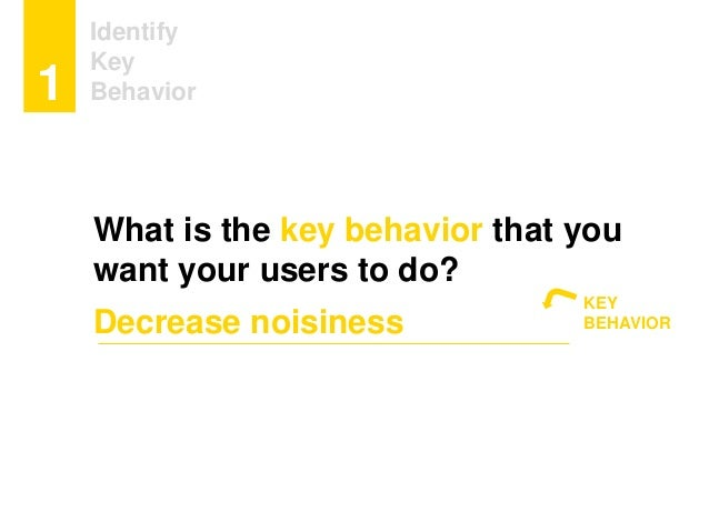 Identify Key Behavior1 What is the key behavior that you want your users to do? Decrease noisiness KEY BEHAVIOR