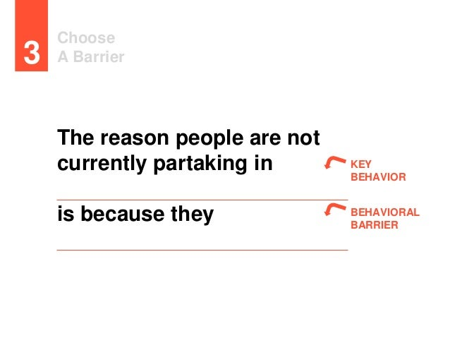 Choose A Barrier3 KEY BEHAVIOR BEHAVIORAL BARRIER The reason people are not currently partaking in is because they (behavi...