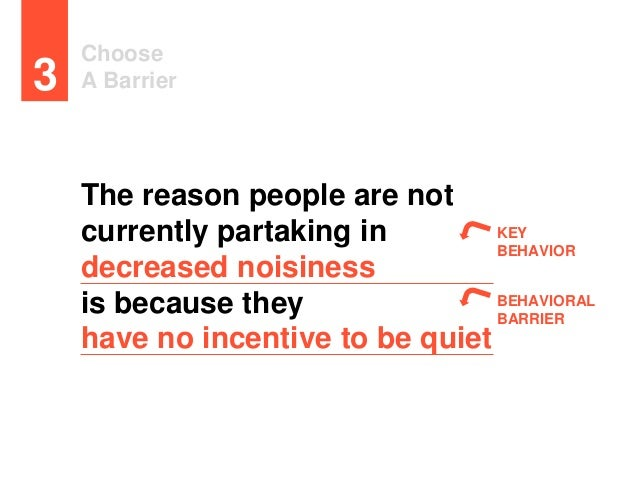 Choose A Barrier3 KEY BEHAVIOR BEHAVIORAL BARRIER The reason people are not currently partaking in decreased noisiness is ...