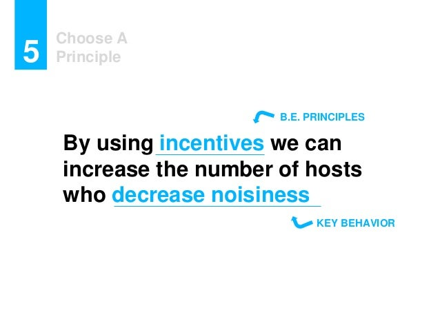 Choose A Principle5 By using incentives we can increase the number of hosts who decrease noisiness KEY BEHAVIOR B.E. PRINC...