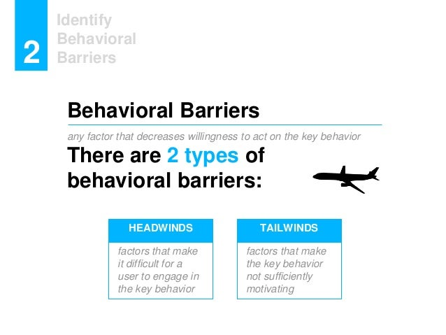 any factor that decreases willingness to act on the key behavior There are 2 types of behavioral barriers: Identify Behavi...