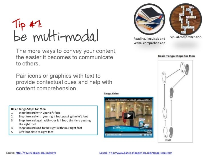 Tip #7: be multi-modal<br />The more ways to convey your content, the easier it becomes to communicate to others. <br />Pa...