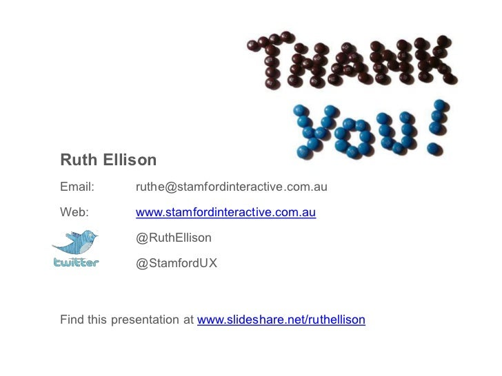 Ruth Ellison<br />Email:  ruthe@stamfordinteractive.com.au<br />Web:   www.stamfordinteractive.com.au<br />  @RuthEllis...