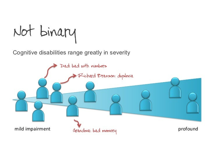 Not binary<br />Cognitive disabilities range greatly in severity<br />Dad: bad with numbers<br />Richard Branson: dyslexia...