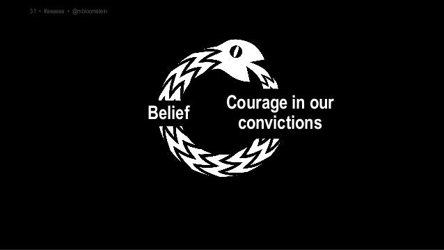 Courage in our convictions Belief 31 • #aeasea • @mbloomstein