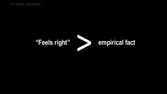 """""""Feels right"""" empirical fact > 32 • #aeasea • @mbloomstein"""