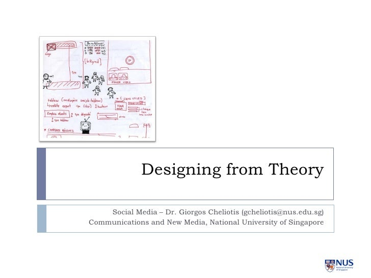 Designing from Theory      Social Media – Dr. Giorgos Cheliotis (gcheliotis@nus.edu.sg) Communications and New Media, Nati...
