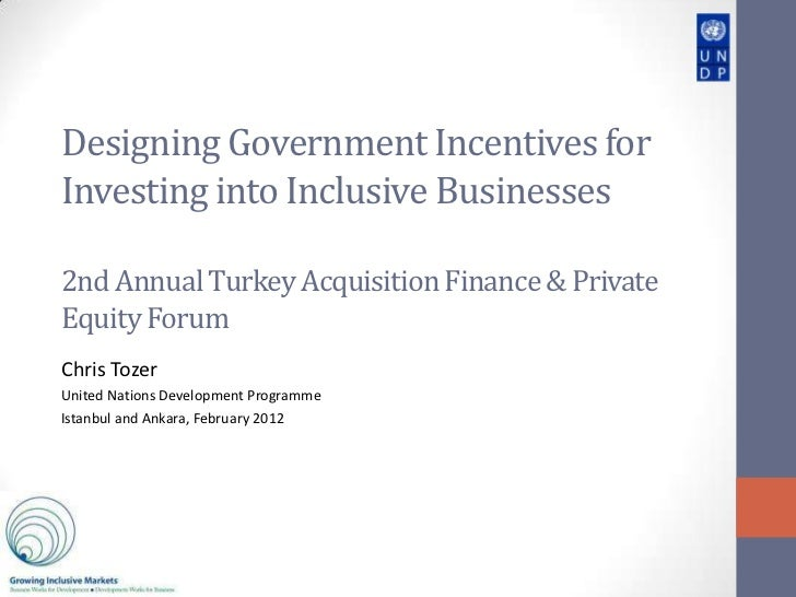 Designing Government Incentives forInvesting into Inclusive Businesses2nd Annual Turkey Acquisition Finance & PrivateEquit...