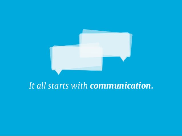 It all starts with communication.