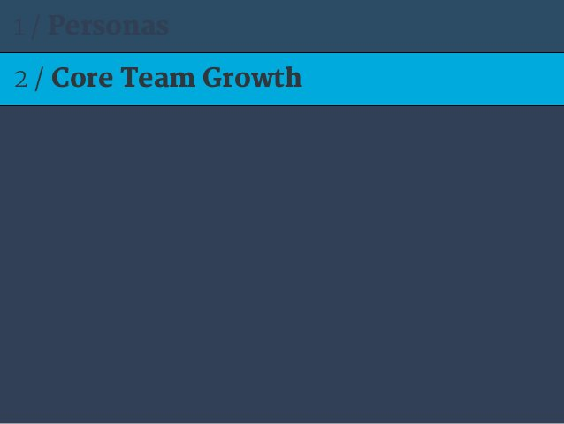 2 / Core Team Growth 1 / Personas