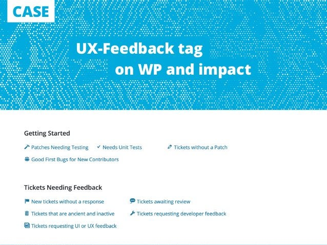 CASE UX-Feedback tag on WP and impact