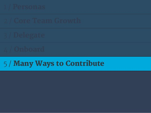 1 / Personas 2 / Core Team Growth 3 / Delegate 4 / Onboard 5 / Many Ways to Contribute