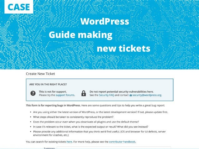 CASE Guide making new tickets WordPress