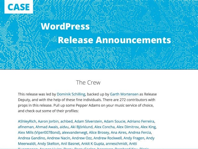 CASE WordPress Release Announcements