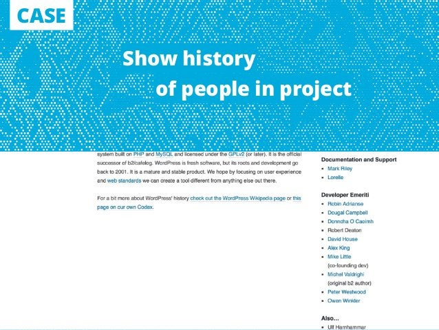 CASE Show history of people in project