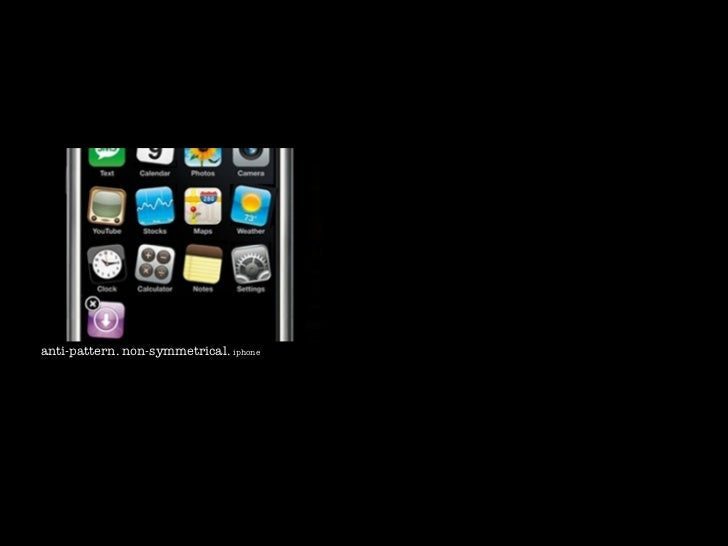 anti-pattern. non-symmetrical. iphone                                            symmetrical interaction. basecamp