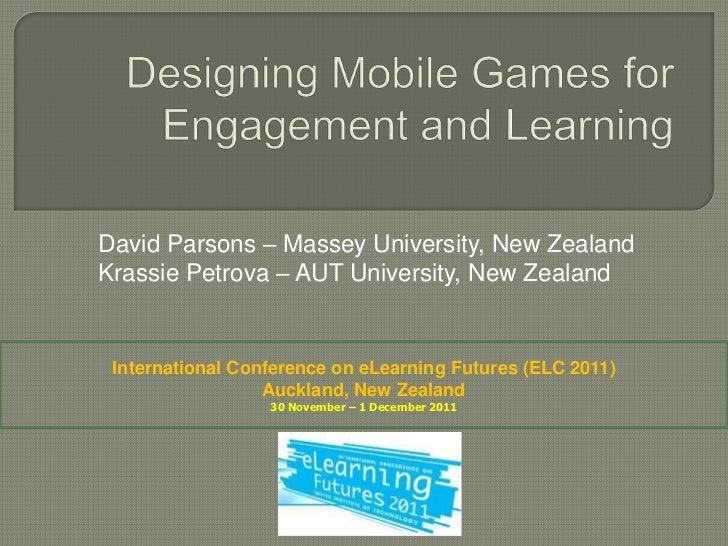 David Parsons – Massey University, New ZealandKrassie Petrova – AUT University, New Zealand International Conference on eL...