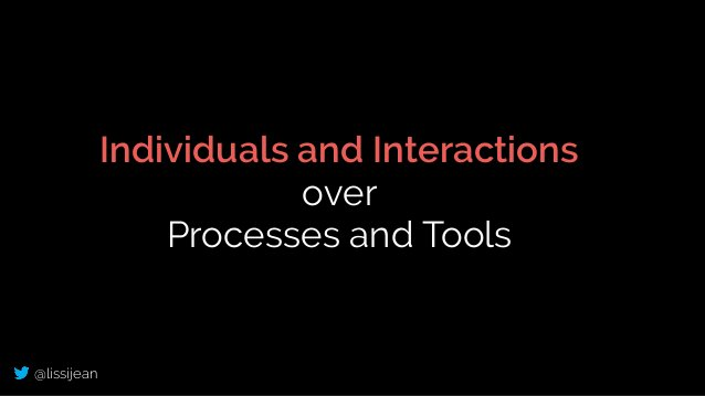 @lissijean Individuals and Interactions over Processes and Tools