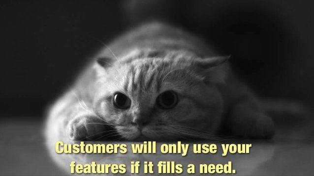 @lissijean Customers will only use your features if it fills a need. Customers will only use your features if it fills a nee...