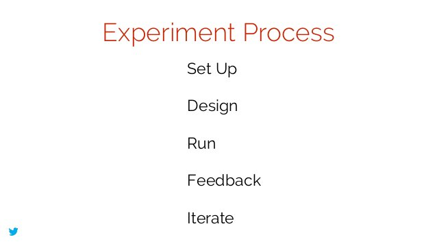 @lissijean Experiment Process Set Up ! Design ! Run ! Feedback ! Iterate
