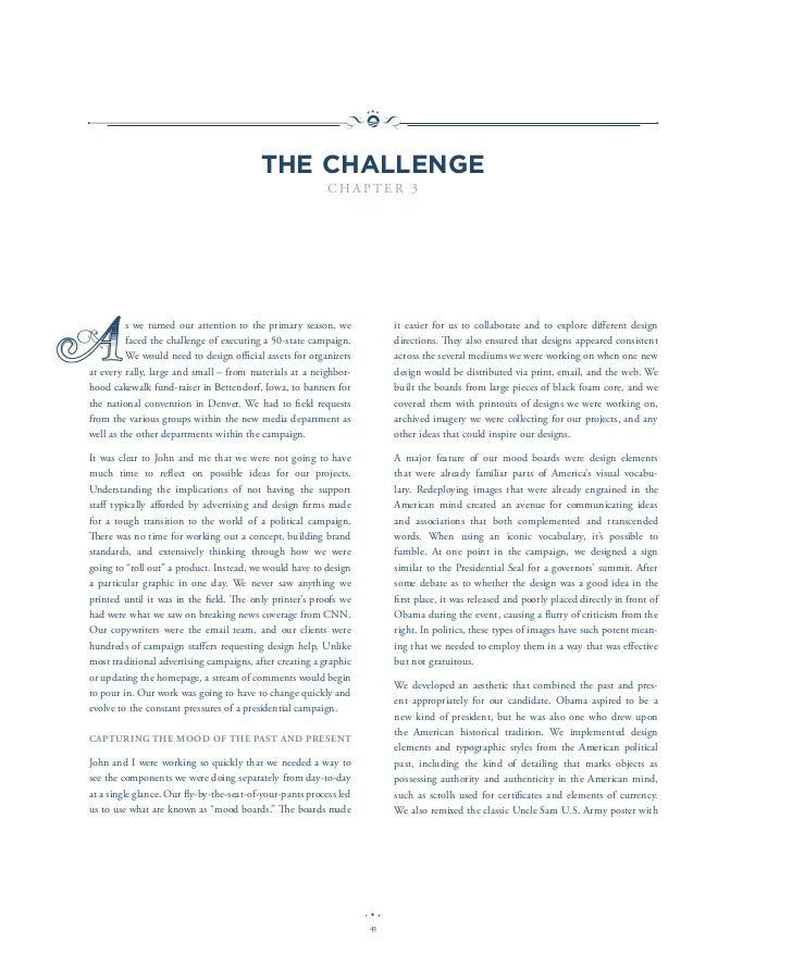 THE CHALLENGE                                                           CHAPTER 3A         s we turned our attention to th...