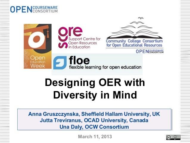 Designing OER with       Diversity in MindAnna Gruszczynska, Sheffield Hallam University, UKAnna Gruszczynska, Sheffield H...