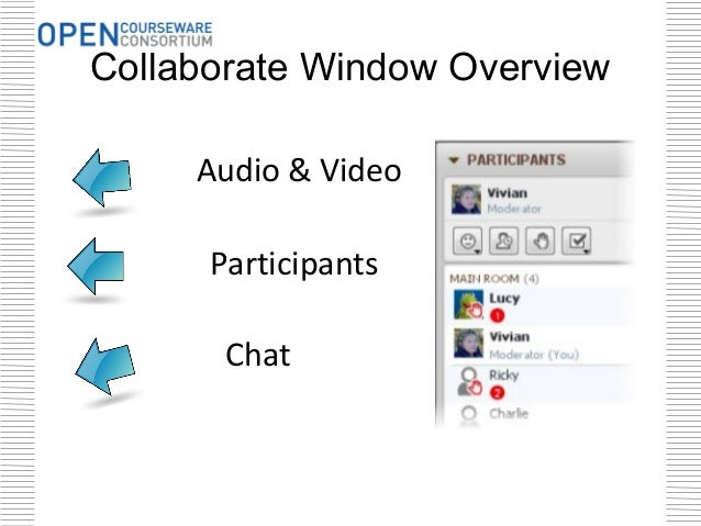 Collaborate Window Overview     Audio & Video      Participants       Chat