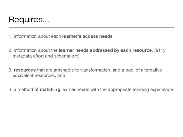 Requires...1. information about each learner's access needs,2. information about the learner needs addressed by each resou...
