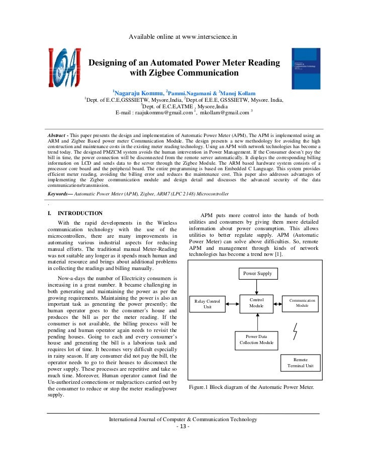 Available online at www.interscience.in                     Designing of an Automated Power Meter Reading                 ...