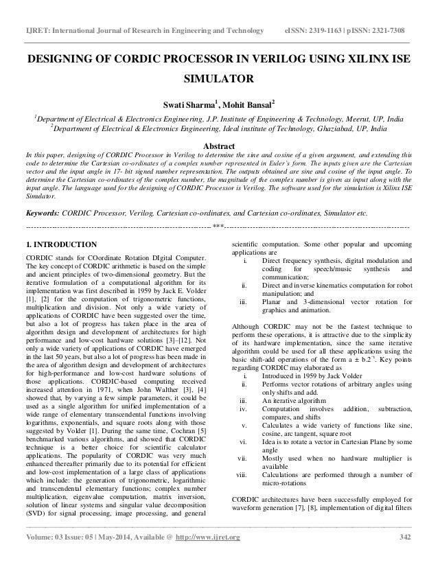Designing of cordic processor in verilog using xilinx ise