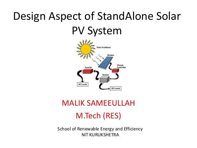Design aspect of standalone pv system for Aspect design
