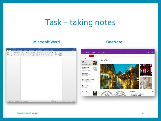 Task – taking notes Microsoft Word OneNote Tuesday, March 14, 2017 15