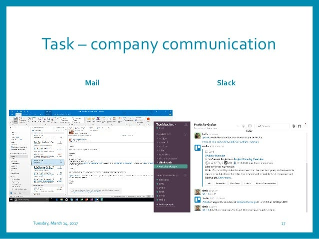 Task – company communication Mail Slack Tuesday, March 14, 2017 17