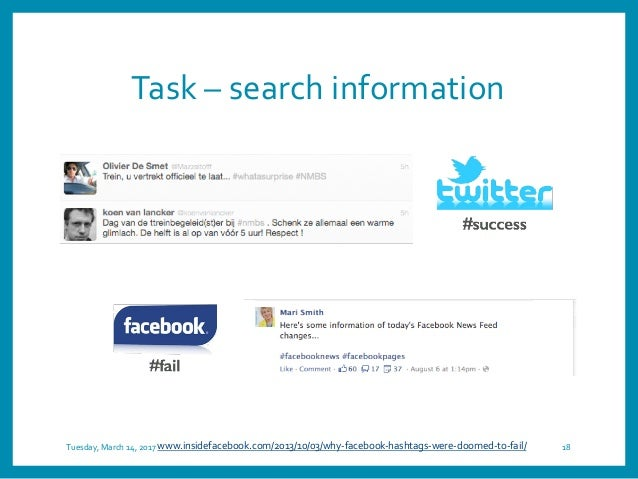 Task – search information Tuesday, March 14, 2017 18www.insidefacebook.com/2013/10/03/why-facebook-hashtags-were-doomed-to...
