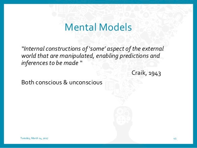 A mental model represents what a person thinks is true… but isn't necessarily true Tuesday, March 14, 2017 46