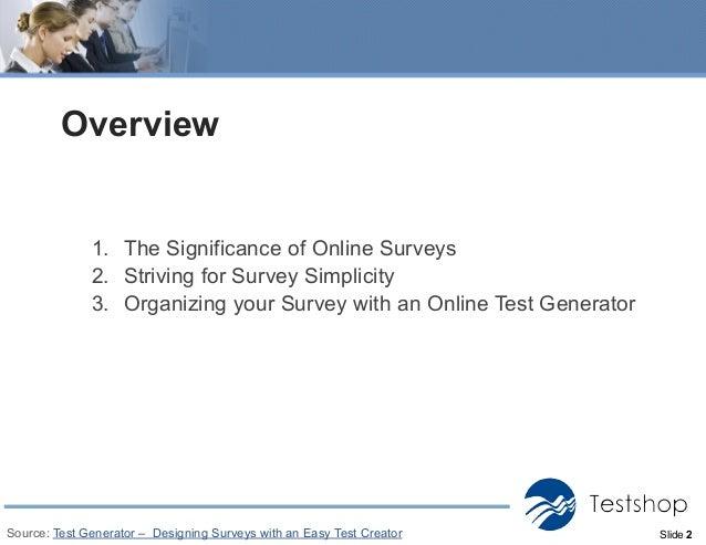 designing surveys with a test generator