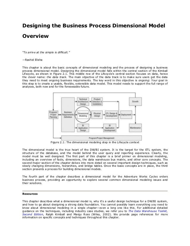 "Designing the Business Process Dimensional ModelOverview""To arrive at the simple is difficult.""—Rashid ElishaThis chapter ..."