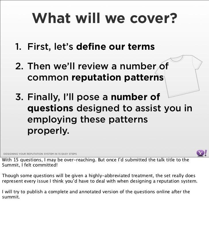 Designing Your Reputation System Slide 2