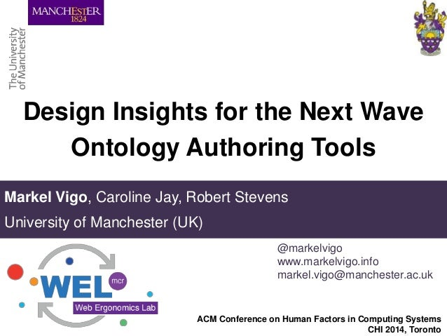 Design Insights for the Next Wave Ontology Authoring Tools Markel Vigo, Caroline Jay, Robert Stevens University of Manches...