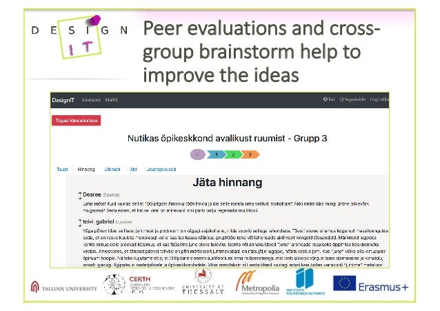 Peerevaluationsandcross- groupbrainstormhelpto improvetheideas