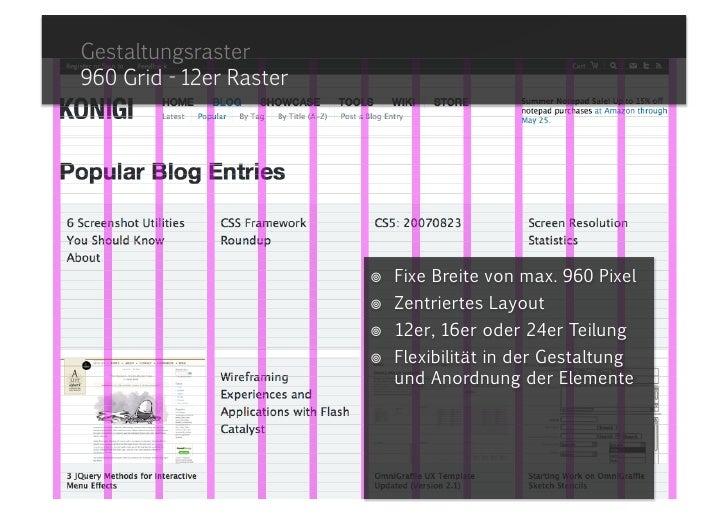 Gestaltungsraster960 Grid - 12er Raster<br /><ul><li>Fixe Breite von max. 960 Pixel