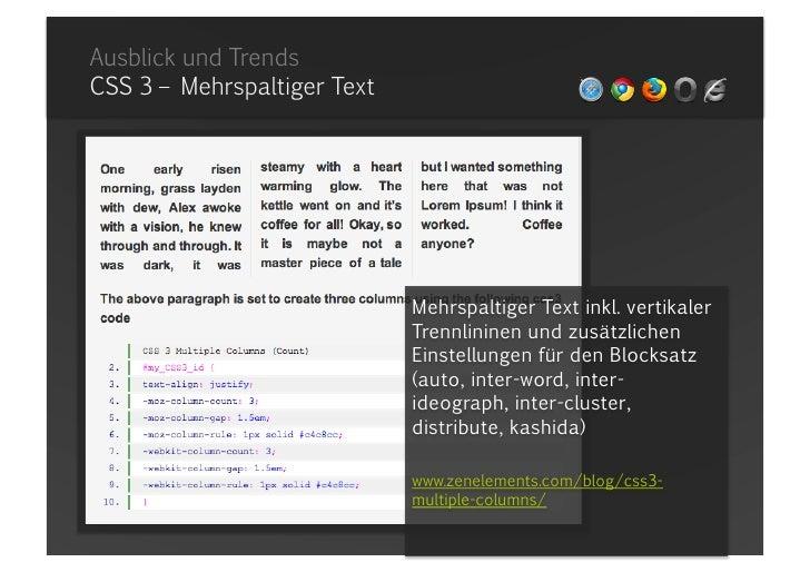 Ausblick und TrendsSchriftenenbindung mit Javascript – sIFR<br />sIFR Generator<br />Erstellt aus TrueType und OpenType Sc...