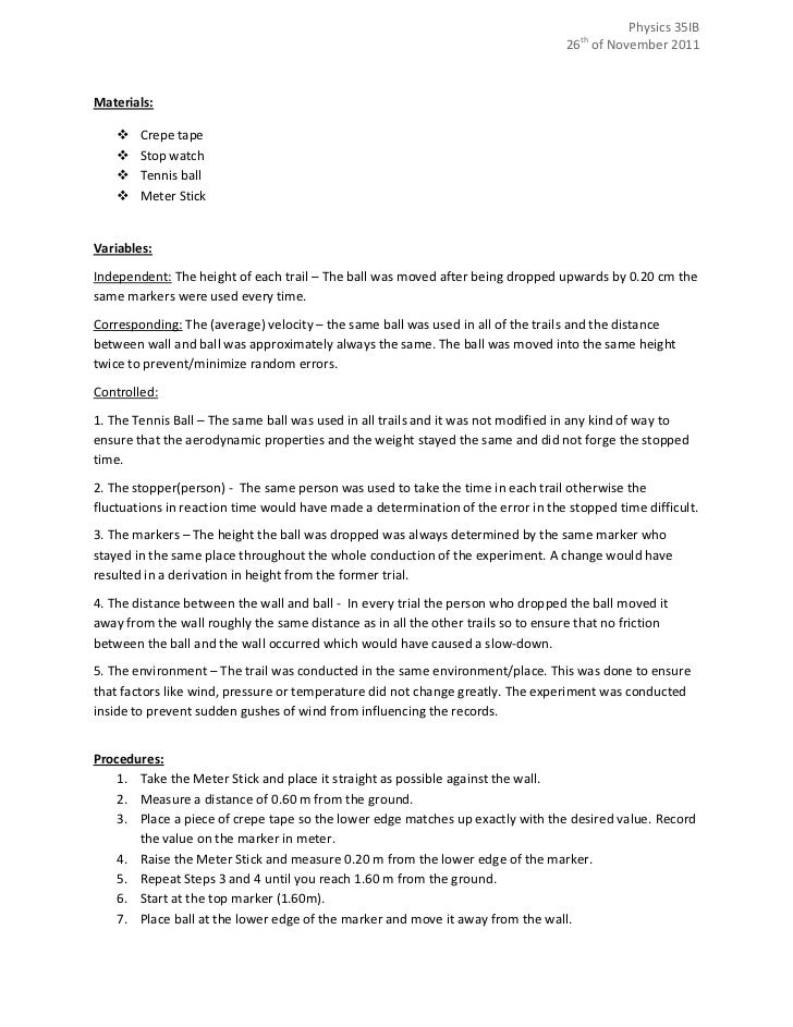 Sample physics lab report free fall for How to plan and design an experiment