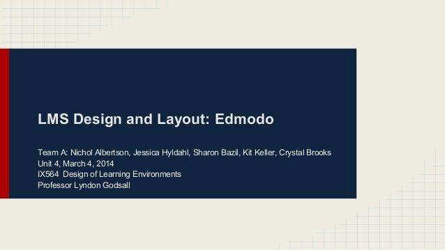 LMS Design and Layout: Edmodo Team A: Nichol Albertson, Jessica Hyldahl, Sharon Bazil, Kit Keller, Crystal Brooks Unit 4, ...