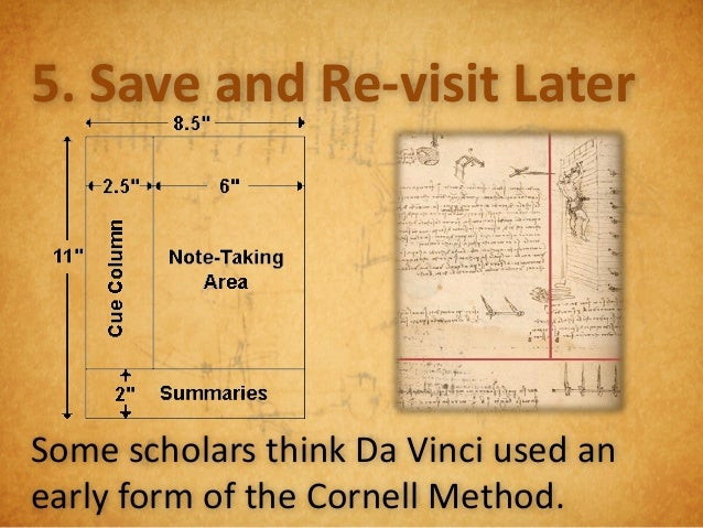Leonardo Lessons:Store & Re-visit:1. Don't throw out.2. Store for later.3. Cluster together.4. Make findable.5. Revisit la...