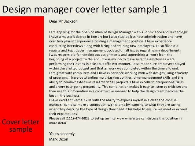 2 design manager cover letter sample - Sample It Manager Cover Letter