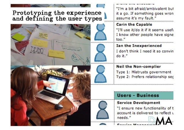 Prototyping the experienceand defining the user types