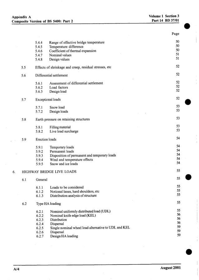 Volume 1 Section3 Part 14 BD 37/01 Appendix A Composite Version of BS 5400: Part 2 a Page 5.5 5.6 5.7 5.8 5.9 5.4.4 5.4.5 ...