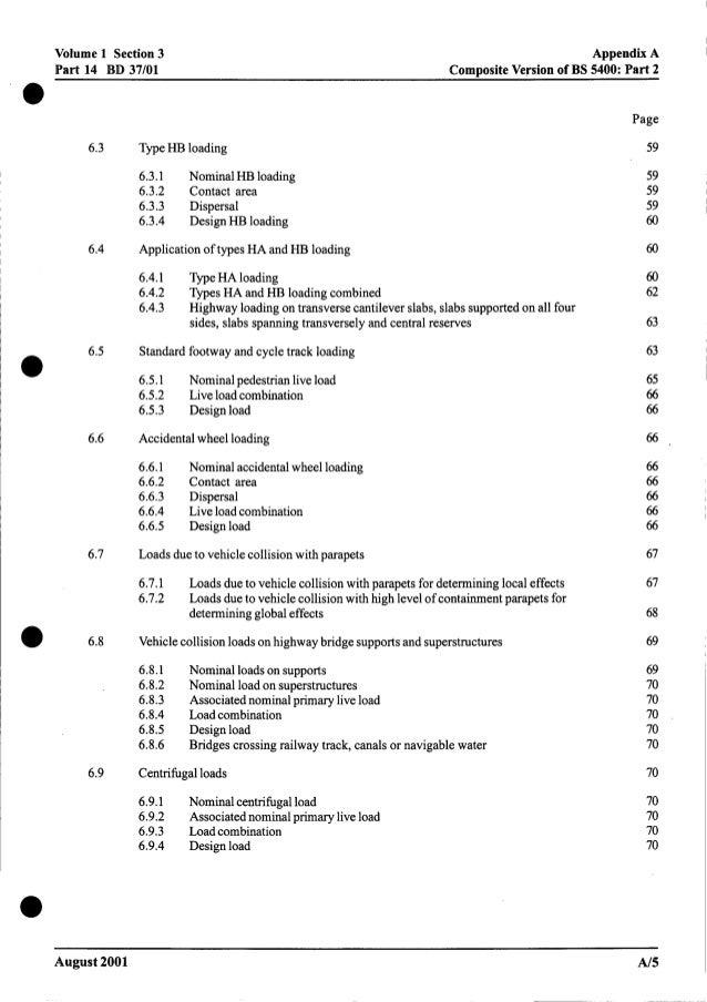 Volume 1 Section 3 Part 14 BD 37/01 Appendix A ComDositeVersion of BS 5400: Part 2 6.3 6.4 6.5 6.6 6.7 6.8 6.9 TypeHB load...